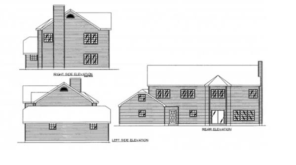 132-1308: Home Plan Rear Elevation
