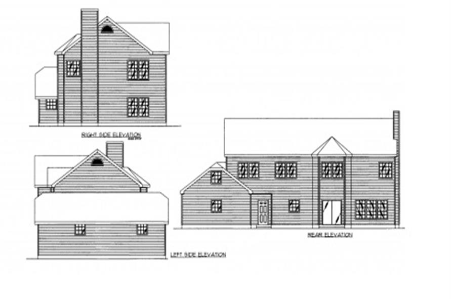 Home Plan Rear Elevation of this 6-Bedroom,2886 Sq Ft Plan -132-1308