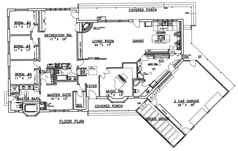 Ranch, Concrete Block/ ICF Design House Plans