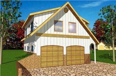 2-Bedroom, 962 Living Sq Ft Garage with Apartment Plan - 132-1312 - Front Exterior