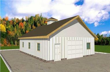 1-Bedroom, 1260 Sq Ft Garage Home Plan - 132-1314 - Main Exterior