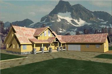 3-Bedroom, 3241 Sq Ft Log Cabin House Plan - 132-1320 - Front Exterior