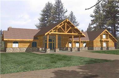 4-Bedroom, 5101 Sq Ft Log Cabin Home Plan - 132-1326 - Main Exterior