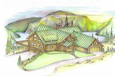 3-Bedroom, 3503 Sq Ft Log Cabin Home Plan - 132-1328 - Main Exterior