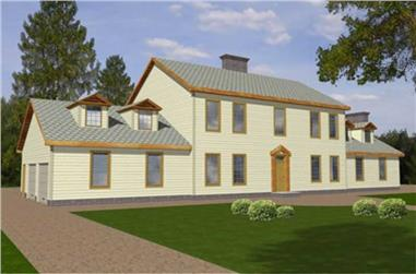 4-Bedroom, 3527 Sq Ft Colonial Home Plan - 132-1332 - Main Exterior