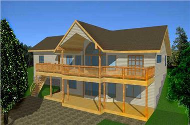 4-Bedroom, 2544 Sq Ft Log Cabin House Plan - 132-1335 - Front Exterior