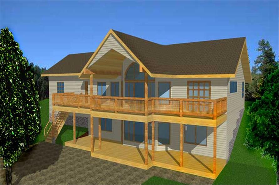 4-Bedroom, 2544 Sq Ft Log Cabin House Plan - 132-1335 - Front Exterior