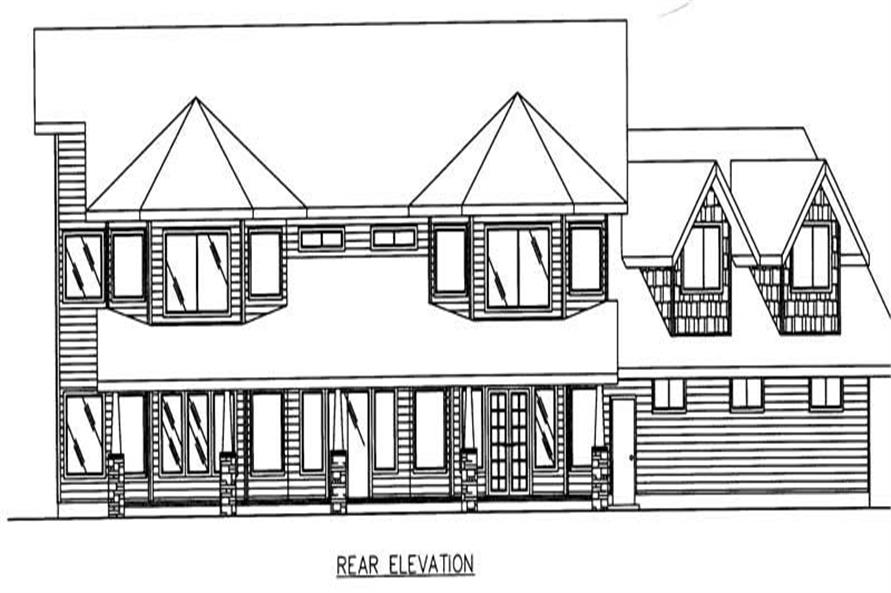 Home Plan Rear Elevation of this 4-Bedroom,3794 Sq Ft Plan -132-1338