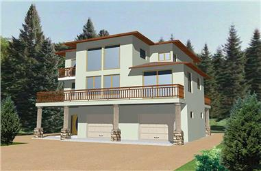 This image shows the Modern style for this set of house plans.