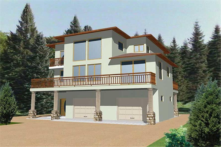 3-Bedroom, 2142 Sq Ft Contemporary Home Plan - 132-1339 - Main Exterior