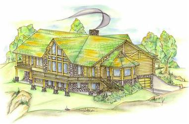 4-Bedroom, 3649 Sq Ft Log Cabin Home Plan - 132-1344 - Main Exterior