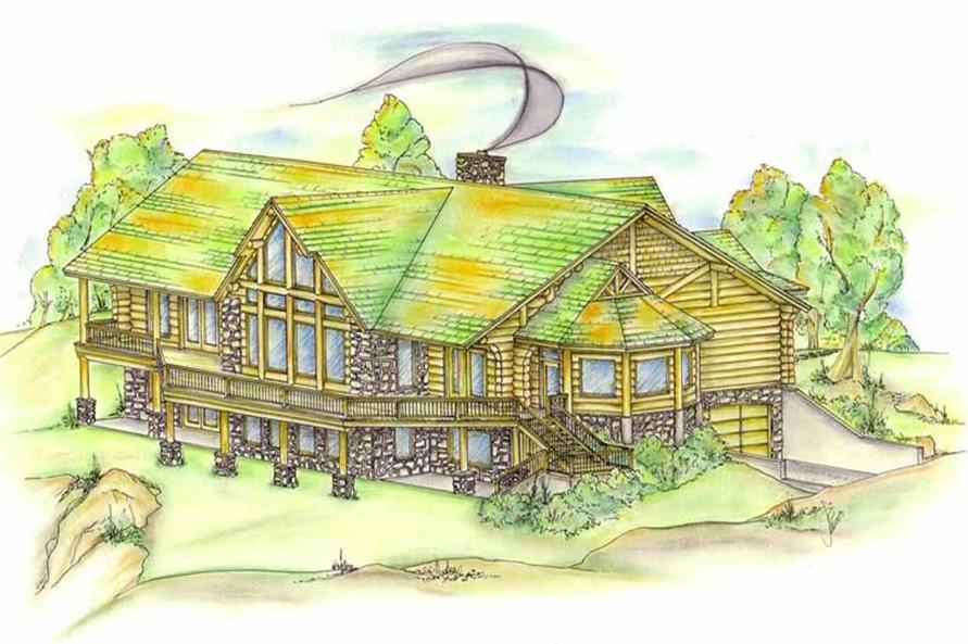 4-Bedroom, 3649 Sq Ft Log Cabin Home Plan - 132-1344 - Main Exterior