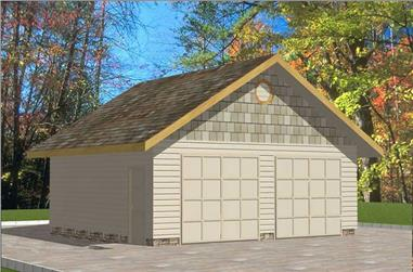 1-Bedroom, 624 Sq Ft Garage House Plan - 132-1346 - Front Exterior