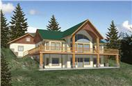 Log Home Plans Front elevation.