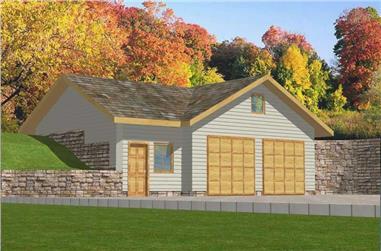 1-Bedroom, 932 Sq Ft Garage Home Plan - 132-1353 - Main Exterior