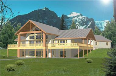 3-Bedroom, 2214 Sq Ft Log Cabin House Plan - 132-1355 - Front Exterior
