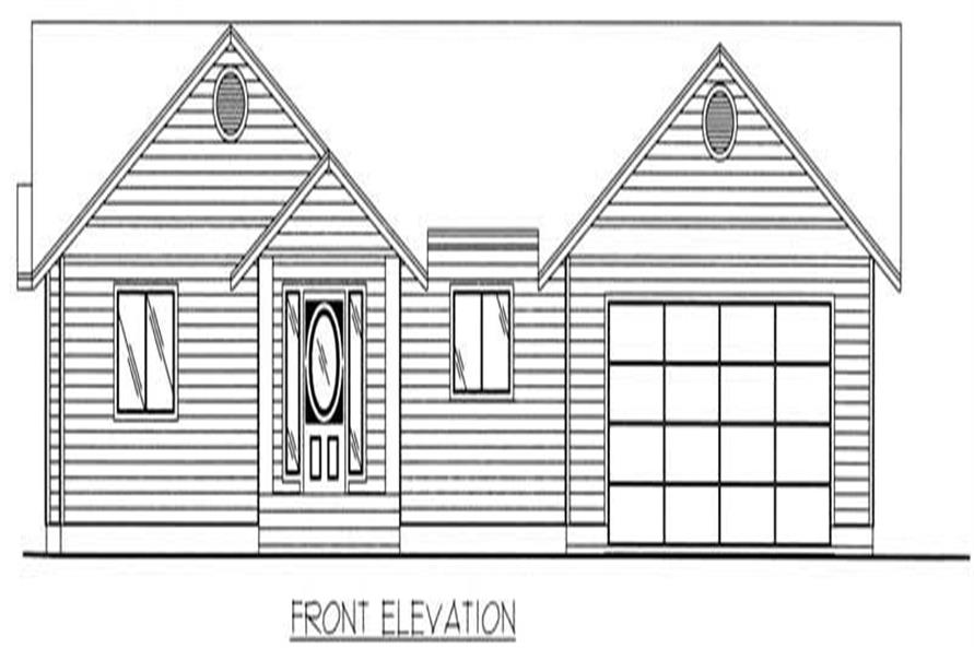 Home Plan Front Elevation of this 3-Bedroom,1350 Sq Ft Plan -132-1356