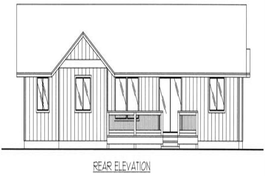 Home Plan Rear Elevation of this 3-Bedroom,1350 Sq Ft Plan -132-1356