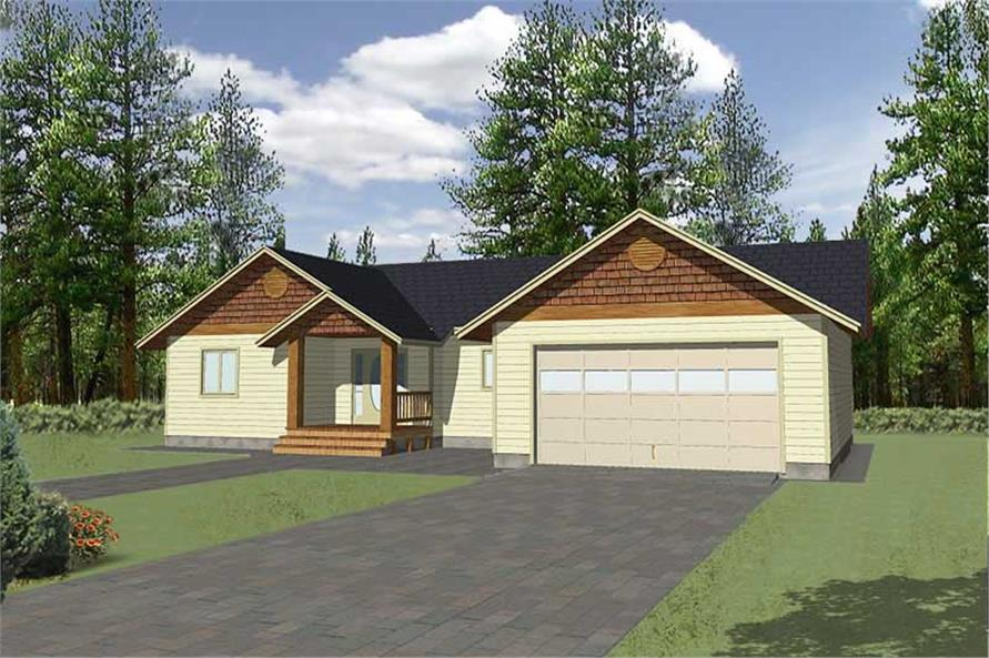 3-Bedroom, 1350 Sq Ft Ranch Home Plan - 132-1356 - Main Exterior