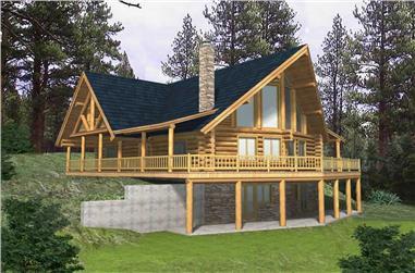 3-Bedroom, 3805 Sq Ft Log Cabin Home Plan - 132-1357 - Main Exterior