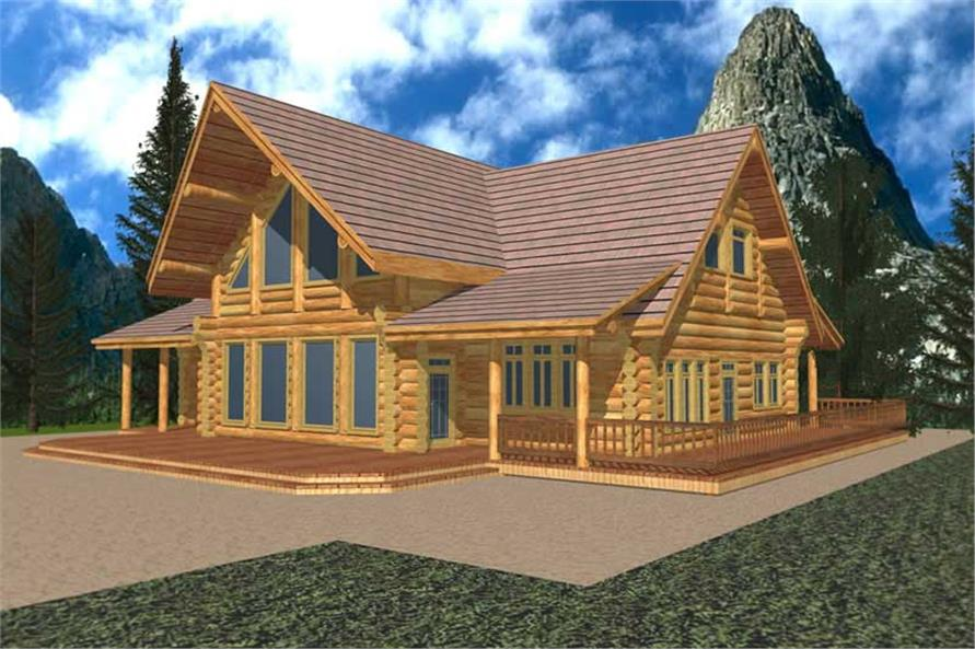 2-Bedroom, 2683 Sq Ft Log Cabin Home Plan - 132-1358 - Main Exterior