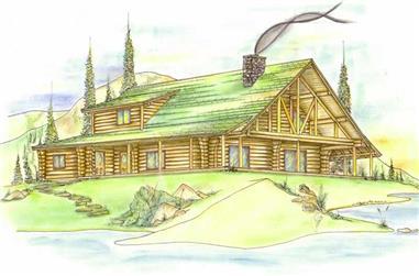 3-Bedroom, 2696 Sq Ft Log Cabin Home Plan - 132-1359 - Main Exterior