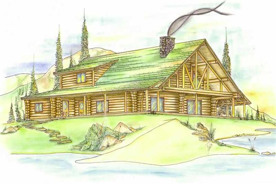 3-Bedroom, 2696 Sq Ft Log Cabin Home Plan - 132-1359 - Main Exterior