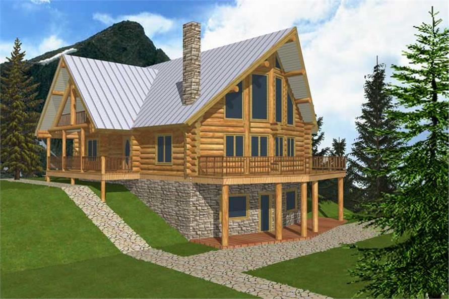 2-Bedroom, 3725 Sq Ft Log Cabin House Plan - 132-1361 - Front Exterior