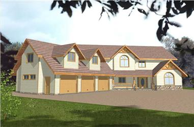3-Bedroom, 3430 Sq Ft Country Home Plan - 132-1362 - Main Exterior