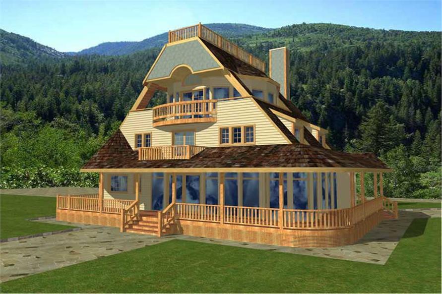 Log Homeplans Front Elevation.