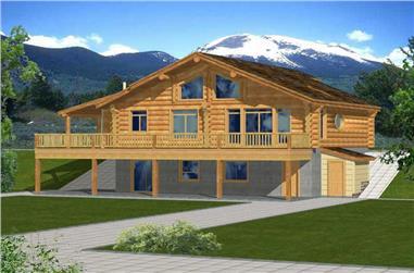 2-Bedroom, 2875 Sq Ft Log Cabin Home Plan - 132-1367 - Main Exterior