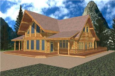 2-Bedroom, 2576 Sq Ft Log Cabin Home Plan - 132-1368 - Main Exterior