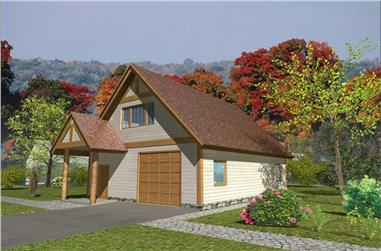 0-Bedroom, 720 Sq Ft Garage w/Apartments House Plan - 132-1370 - Front Exterior