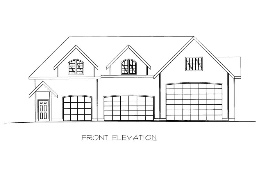 Home Plan Front Elevation of this 1-Bedroom,998 Sq Ft Plan -132-1371