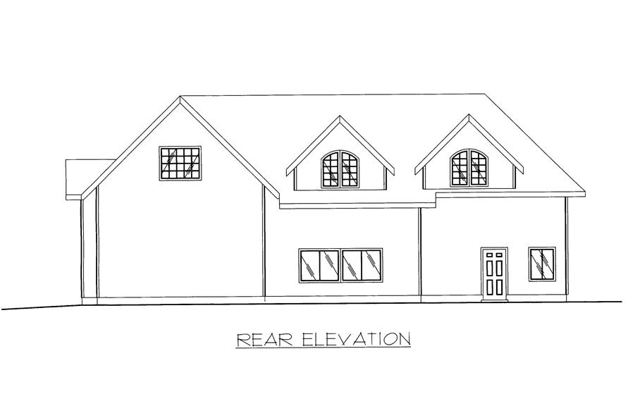Home Plan Rear Elevation of this 1-Bedroom,998 Sq Ft Plan -132-1371