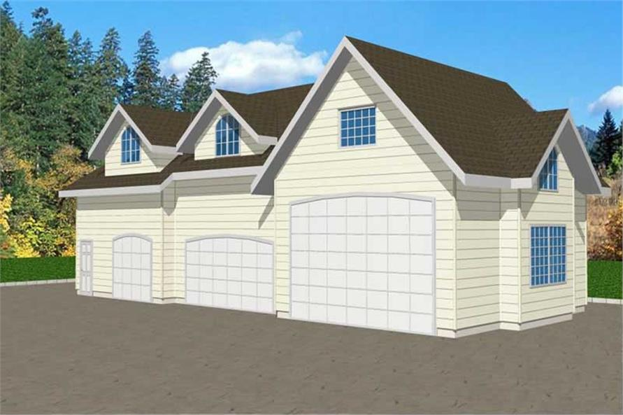 1-Bedroom, 998 Sq Ft Garage House Plan - 132-1371 - Front Exterior