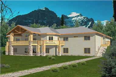 Log Cabin Home Plans Front elevation.