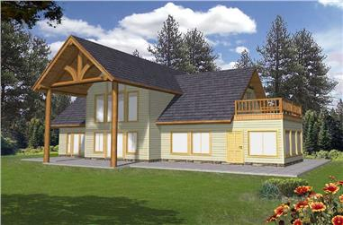 3-Bedroom, 1713 Sq Ft Rustic Home Plan - 132-1380 - Main Exterior