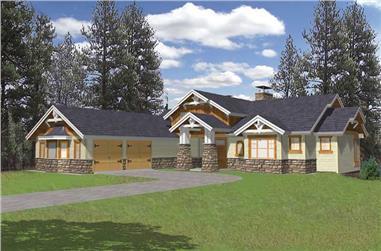 3-Bedroom, 2531 Sq Ft Home Plan - 132-1381 - Main Exterior