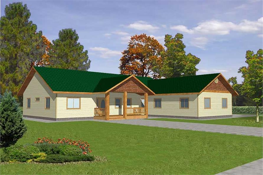 3-Bedroom, 1898 Sq Ft Ranch Home Plan - 132-1383 - Main Exterior