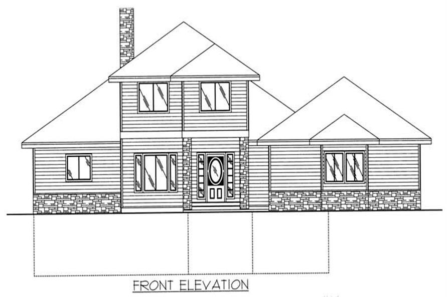 Home Plan Rear Elevation of this 3-Bedroom,2428 Sq Ft Plan -132-1384