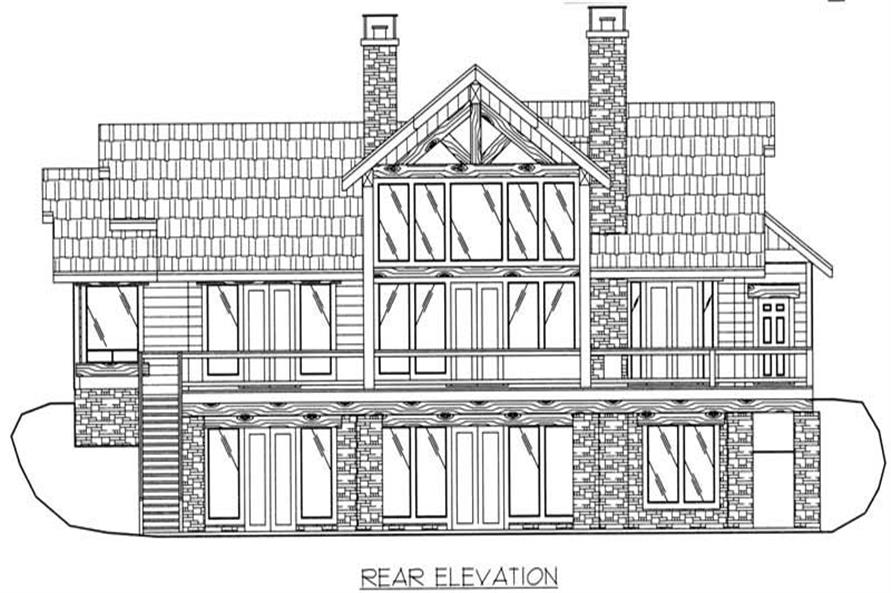 Home Plan Rear Elevation of this 3-Bedroom,3650 Sq Ft Plan -132-1385