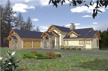 3-Bedroom, 3650 Sq Ft Craftsman Home Plan - 132-1385 - Main Exterior