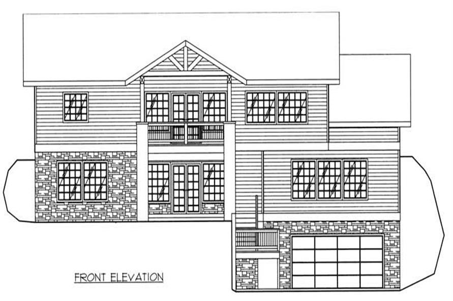 Home Plan Front Elevation of this 3-Bedroom,3164 Sq Ft Plan -132-1386