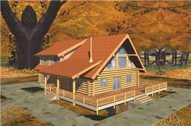 3-Bedroom, 2328 Sq Ft Log Cabin House Plan - 132-1387 - Front Exterior