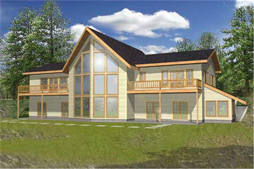 5-Bedroom, 3997 Sq Ft Log Cabin Home Plan - 132-1393 - Main Exterior