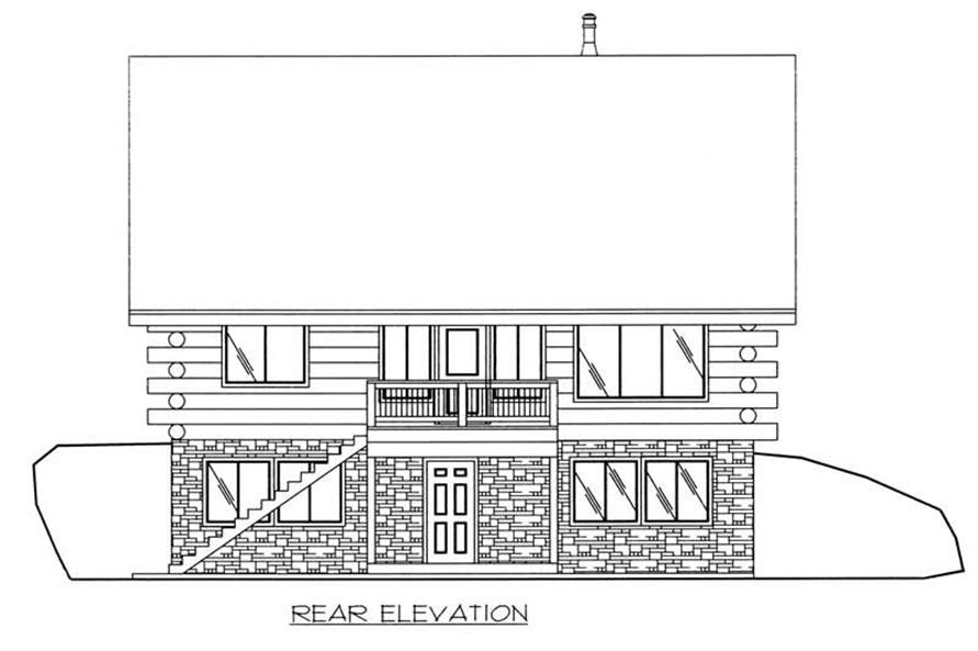 Home Plan Rear Elevation of this 1-Bedroom,1485 Sq Ft Plan -132-1398