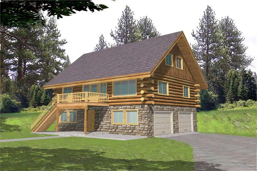 1-Bedroom, 1485 Sq Ft Log Cabin House Plan - 132-1398 - Front Exterior