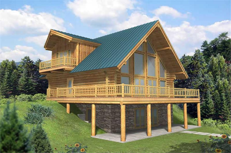 3-Bedroom, 2057 Sq Ft Log Cabin House Plan - 132-1399 - Front Exterior