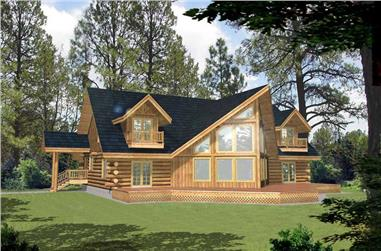 Front elevation of Log Cabin home (ThePlanCollection: House Plan #132-1400)